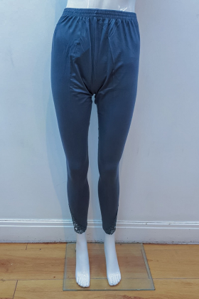 Grey linen leggings with side lace detailing