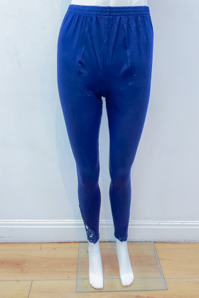 Navy linen leggings with side lace detailing