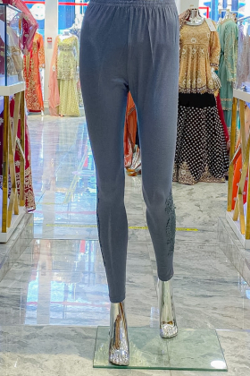 Linen grey leggings with embroidery on the lower leg