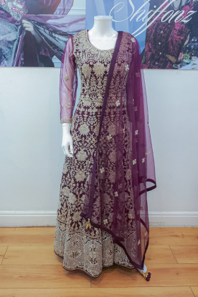 3 Piece luxury embroidered plum long dress